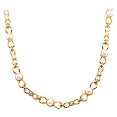 Tiffany & Co. Gold Pearl Diamond Bow Tie Link Necklace
