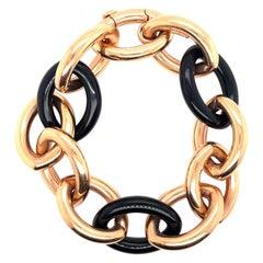 Black Onix and Rose Gold Link Bracelet