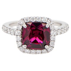 Cushion Rhodolite Ring 2.42 Carat with Diamonds Setting 0.76 Carats 18K Gold