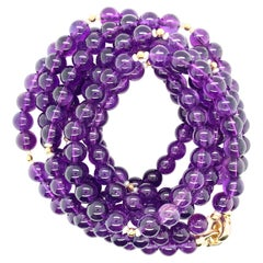 Amethyst Bead & Pearl Rope Necklace, Yellow Gold Clasp