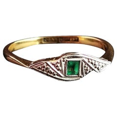 Art Deco Emerald Ring, 18 Karat Yellow Gold and Platinum