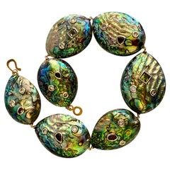 Michael Kneebone Paua Shell Pearl Mixed Gemstone Bead Necklace