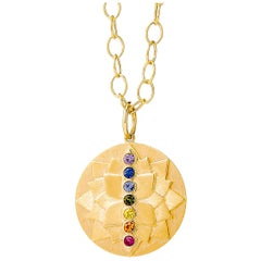 Syna Yellow Gold Cosmic Lotus Pendant with Multi Color Sapphires