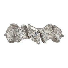 Five Stone Fancy Shape Diamond Band in 18K White Gold