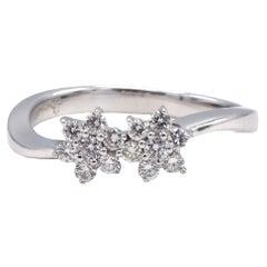 18 Karat White Gold Double Flower Cluster Diamond Ring
