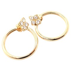 Cartier Hindu Diamond Floral Design Yellow Gold Hoop Earrings