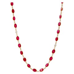 Syna Yellow Gold Oval Ruby Necklace with Diamonds