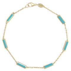 14k Yellow Gold & Turquoise Station Bar Bracelet