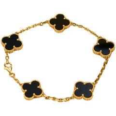 Van Cleef & Arpels 5 Motif Vintage Alhambra Onyx Bracelet
