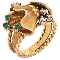 Vintage 60s Diamond Flower Leaf Ring 18k Yellow Gold Estate Fine Jewelry