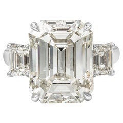 GIA Certified 10.88 Carat Emerald Cut Diamond Three-Stone Engagement Ring