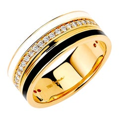 Syna Yellow Gold Band with Champagne Diamonds & Enamel
