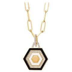 Syna Yellow Gold Black & White Enamel Pendant with Champagne Diamonds