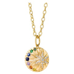 Syna Yellow Gold North Star Multi Sapphire Pendant with Champagne Diamonds