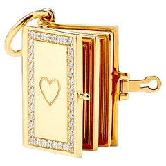 Syna Yellow Gold Notebook Pendant with Champagne Diamonds