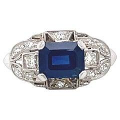 Art Deco Style Sapphire Diamond Platinum Engagement Ring