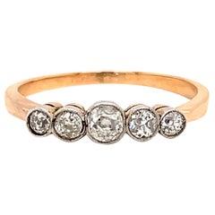 Victorian Inspired 5 Stone Old European Cut Diamond 18 Karat Rose Gold Band Ring