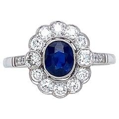 Modern Victorian Inspired Sapphire Diamond Platinum Cluster Ring