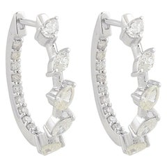 1.18 Carat Inside Out Diamond 10 Karat White Gold Huggie Hoop Earrings