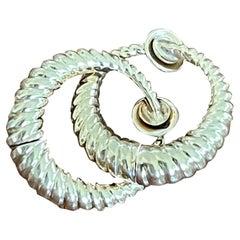 Modern 14 Karat Yellow Gold Hoop Clip-On Earrings