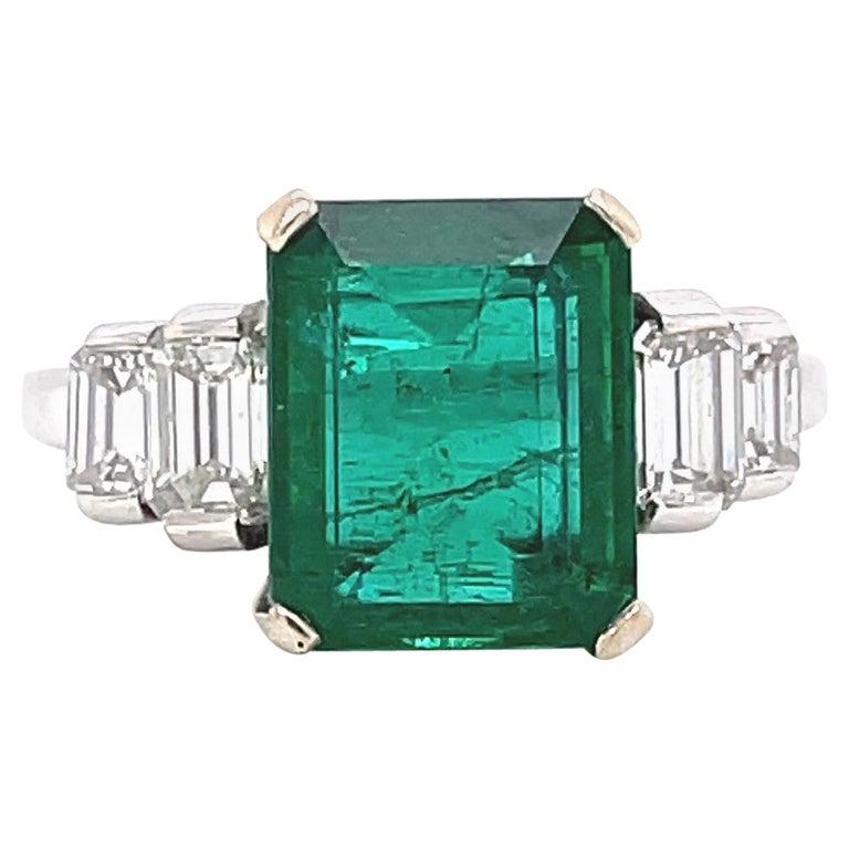 Vintage French GIA Zambian Emerald Diamond 18 Karat White Gold Ring For Sale