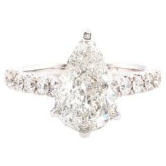 14 Karat White Gold Pear Cut Diamond Engagement Ring