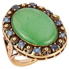 Very Rare Art Nouveau Tiffany & Co. Cabochon Jade & Sapphire Ring