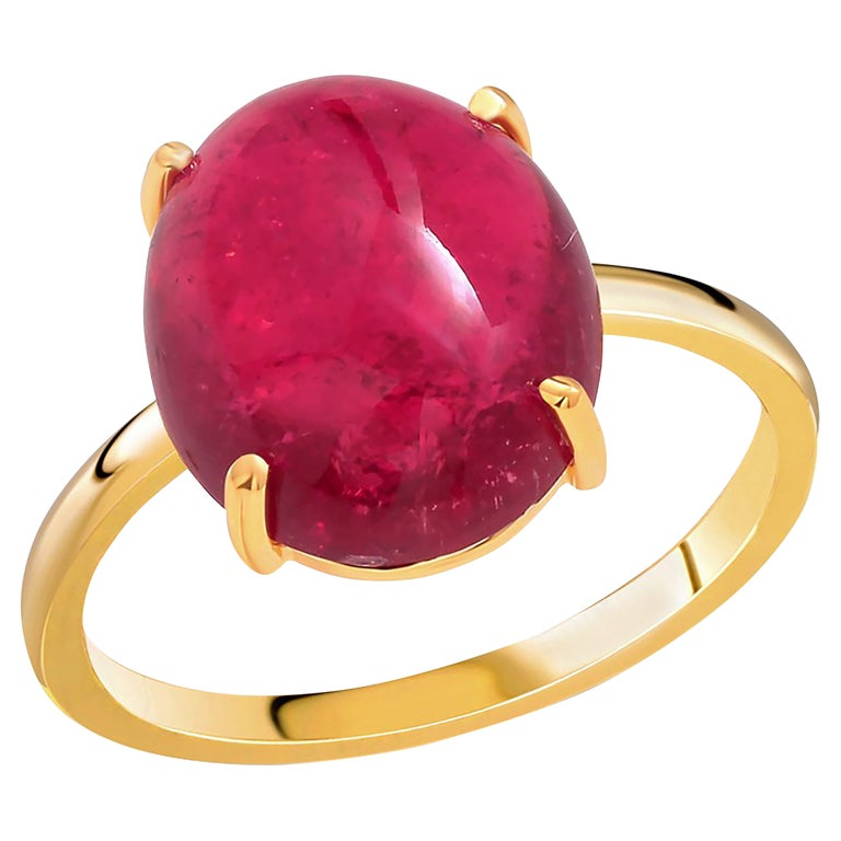Cabochon Rubellite Bezel Raised Dome Yellow Gold Cocktail Ring For Sale