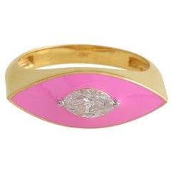 Pink Enamel Diamond 18 Karat Gold Marquise Ring