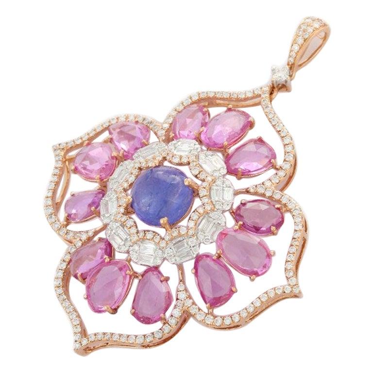 Multi-Sapphire Pendant in 18K Rose Gold