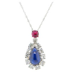 GIA Certified Burma No Heat Ruby and Sapphire Cabochon Diamond Pendant Necklace