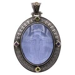 Light Purple Italian Murano Glass Pendant Cameo of Crucified Cross