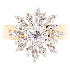 0.50 Carat Round Brilliant Cut Diamond 18 Carat Vintage Cluster Ring