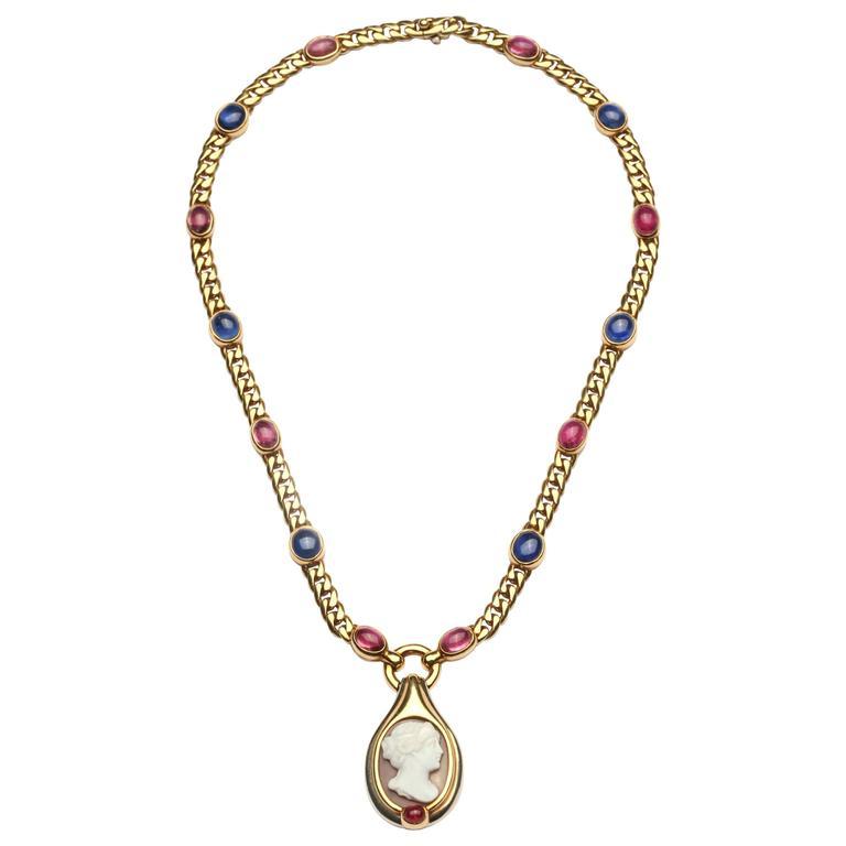 1970s Bulgari Cameo Agate Blue Topaz Tourmaline Gold Chain Necklace