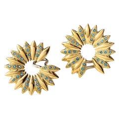 Maria Kotsoni, Contemporary 18K Yellow Gold Blue Topaz Large Hoop Clip Earrings