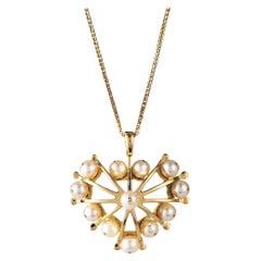 Maria Kotsoni, Contemporary 18K Yellow Gold & Akoya Pearl Domed Heart Pendant
