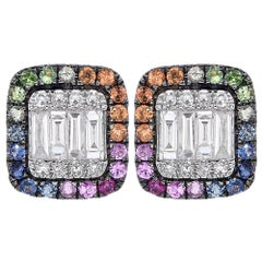 14K Rose Gold Multicolor Sapphire and Diamond Earrings