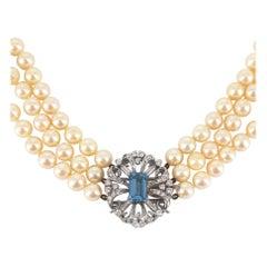 9ct White Gold Aquamarine & Diamond Pearl Necklace