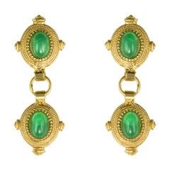 New Etruscan Style Vermeil Green Stone Drop Earrings
