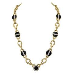 David Webb Yellow Gold Link Black Enamel Diamond Chain Necklace