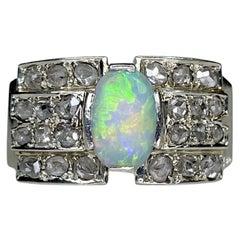 Art Deco 14K Gold Opal Rose Cut Diamond Ring