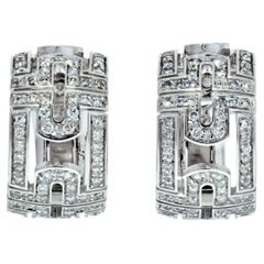 Bvlgari 18K White Gold Parentesi Diamond Huggie Earrings