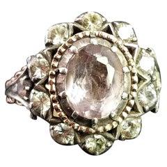 Georgian Pink Topaz Cluster Ring, 18 Karat Yellow Gold, Foiled Paste, Silver
