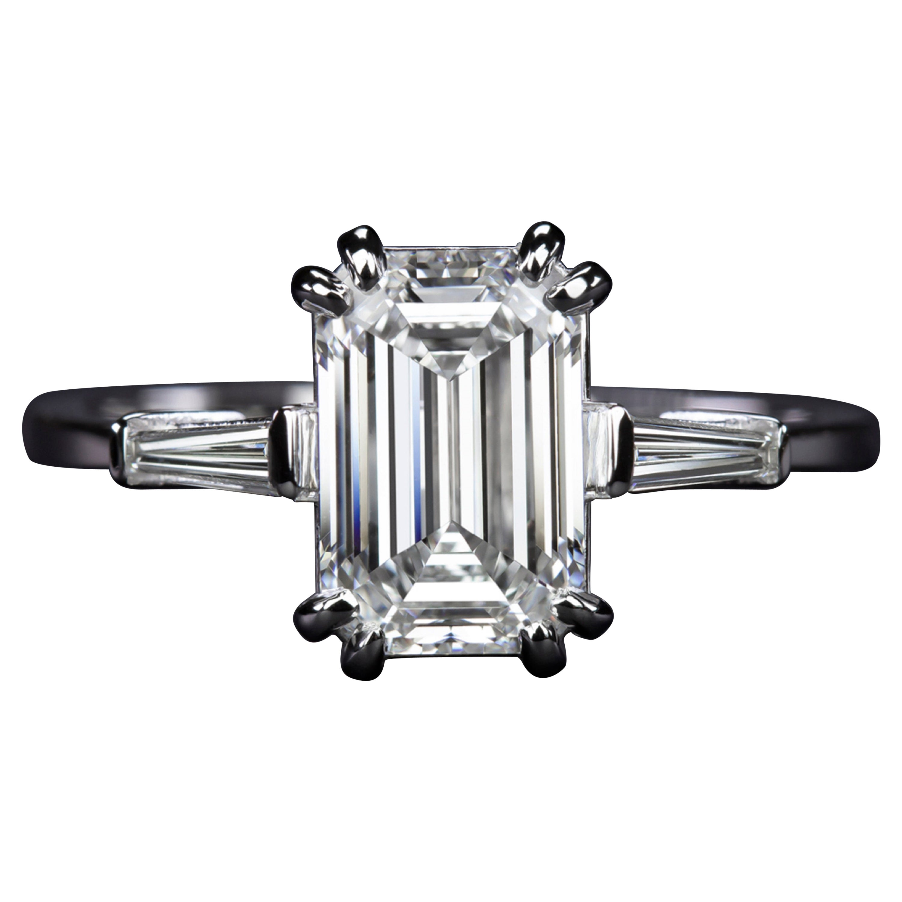 Exceptional GIA Certified 2.20 Carat Emerald Cut Diamond Ring