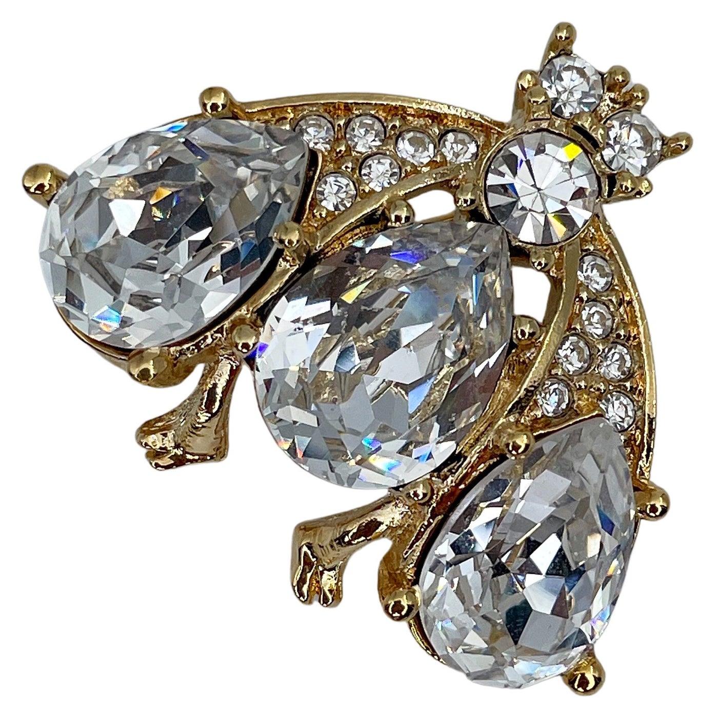 Vintage Christian Dior Gold Tone Crystal Bee Brooch