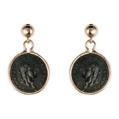 Antique Style Coins Rose Vermeil Drop Earrings
