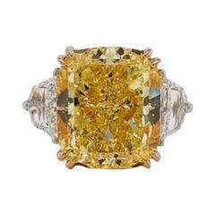 Emilio Jewelry GIA Certified 13.00 Carat Fancy Intense Yellow Diamond Ring
