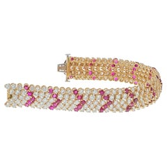 Van Cleef & Arpels 18K Yellow Gold 1960's Chevron Diamond Rubies Bracelet