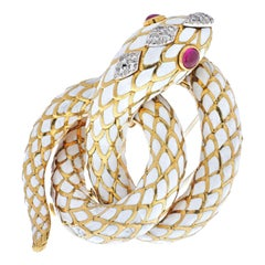 David Webb Gold Coiled Snake Serpent with Ruby Eyes Brooch