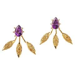 Maria Kotsoni 18K Yellow Gold Amethyst & Citrine Spiky Grain Ear Jackets